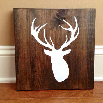 Elk Head Silhouette Wood Sign, Custom Elk Sign, Stained and Hand Painted, Choose Colors, Elk decor, Cabin decor, Hunting decor