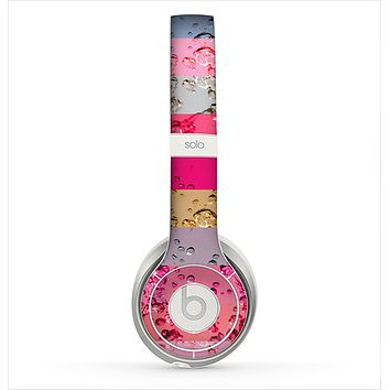 The Pink Water Stripes Skin for the Beats by Dre Solo 2 Headphones
