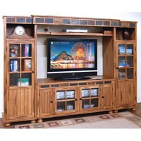 Sunny Designs Sedona Collection Two Piece Entrainment Wall In Rustic Oak 2754