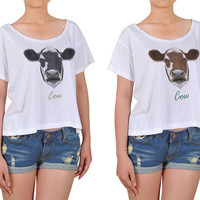 Women Portrait of Cow Printed Cotton Croptop WTS_08