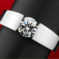 Classic Engagement Ring men 18K real white gold plated AAA Arrows CZ Diamond lovers promise Ring for men women