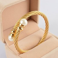 New Women Cable Bangles Gold 316l Stainless Steel Bracelet Fashion Pearl Jewelry