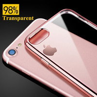Transparent Cover Case For iPhone 7 / 7 Plus Silicone Soft Back Luxury Coque Fundas Gold For i Phone 7Plus 4.7 / 5.5 inch