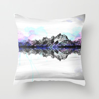 Watercolor Mountain Range Throw Pillow by Suzyoconnor