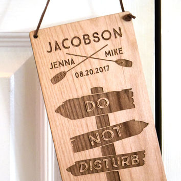 Wedding Do Not Disturb Sign Wood - Personalized Wedding Wood Door Sign - Wedding Signage - Door Hanger - Laser Engraved