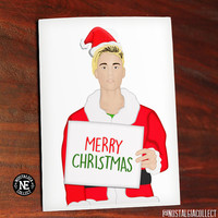 Believe It's Christmas - Justin Bieber Holding Sign with Christmas Hat and Santa Suit - Greeting Card 4.5 X 6.25 Inches