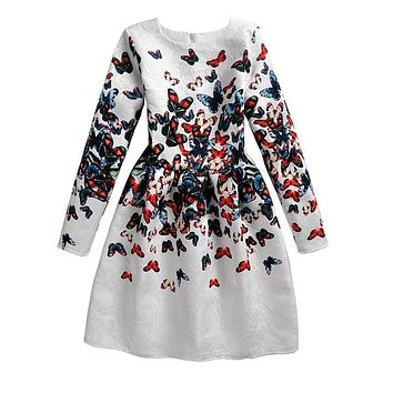 Autumn New Clothing Girl Full Print Dress Butterfly Pattern Long Sleeve Princess Girls Dress Clothes Print Vestido 12 Years Kids