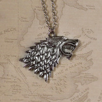 House Stark Dire Wolf Sigil Silver Necklace / Game of Thrones / A Song of Ice and Fire Jewelry / Direwolf