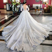 Vintage Wedding Dresses 2017 Jewel Sheer Neck Long Sleeve With Lace Appliques Satin Arabic African Wedding Bridal Gowns WB112