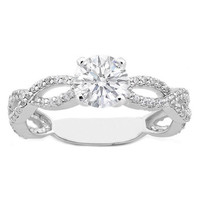 Engagement Ring - Vintage Round Diamond Infinity Swirl Engagement Ring 0.38 tcw. In 14K White Gold - ES337