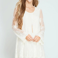 Cream Lace Scalloped Hem Dress
