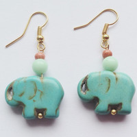 Gold Elephant Earrings, Turquoise Gold Elephant Earrings, Goodluck Earrings, Dangle Earrings, Turquoise Howlite Earrings, Bohemian Jewlery