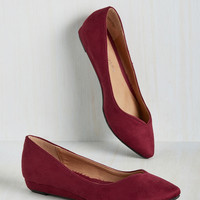 See You Later, Innovator Wedge in Wine | Mod Retro Vintage Flats | ModCloth.com