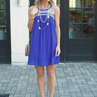 Boho Embroidered Dress -The St. Tropez Dress-Blue-$75.00 | Hand In Pocket Boutique