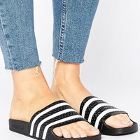 adidas Originals Black And White Adilette Slider Sandals at asos.com