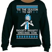 Rick morty Wrecked Ugly Christmas Unisex Sweatshirts