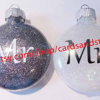 Mr and Mrs Glittered Ornaments for Christmas