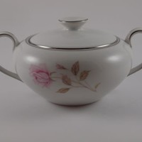 Vintage Modern China Table Institute Inc. Sugar Bowl La Rose 5719 Platinum Japan