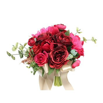 Rustic Wedding Bouquet - Shades of Red Rose, Dahlia, and Tulip Artificial Bridal Bouquet