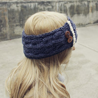 Lace & Knit Headwrap in Charcoal