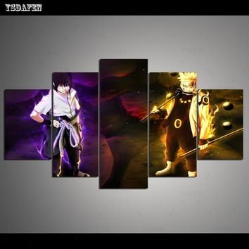 Naruto Sasauke ninja   HD 5 panel Canvas Art NRT 2803181h  panther mountain Poster Picture For Living Room VH-1091 AT_81_8