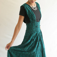 Vintage 80s black jumper with green paisley print M