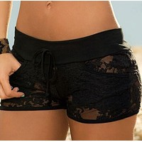 Hollow gauze lace shorts