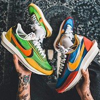 Sacai X Nike LVD WAFFLE joint deconstruction hit color running shoes Colorful