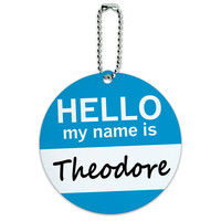 Theodore Hello My Name Is Round ID Card Luggage Tag
