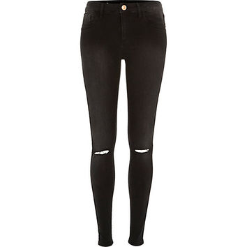River Island Womens Washed black Amelie ripped superskinny jeans