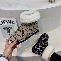 GUCCI Fashionable rhinoceros-full snowshoes with fleece warm cotton shoes middle tube non-slip cotton boots lady