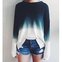 Retro Knit Gradient Color Top Sweater Pullover