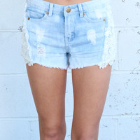 Crochet Lace Cutoff Shorts {L. Blue}