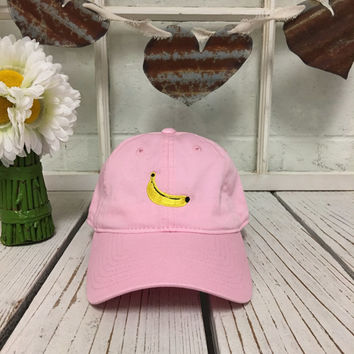 New Banana Embroidered Pink Polo Baseball Cap Low Profile Curved Bill