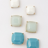 Set of 3 Pairs Varying Sizes Square Candy Stud Earrings - Turquoise or Pink