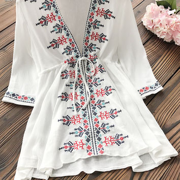 Cupshe Going Crazy Embroidered Tunic Top