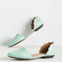 On the Scallop and Up Flat in Seafoam   Mod Retro Vintage Flats   ModCloth.com