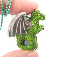 Detailed Dragon Shaped Porcelain Ceramic Targaryen Pendant Necklace in Green | Game Of Thrones