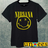 NIRVANA SMILEY ROCK BAND FACE COOL MUSIC PUNK KURT COBAIN Men T Shirt