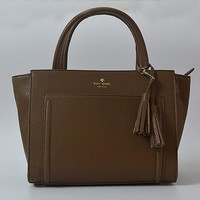 Fashion Kate Spade Women Classic Shopping Leather Tote Handbag Shoulder Bag Color Brown