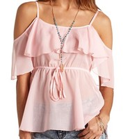 SHEER COLD SHOULDER BABYDOLL TOP