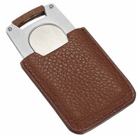 Visol Pizon Cigar Cutter with Brown Leather Case