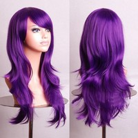 """MapofBeauty 28"""" 70cm Long Curly Hair Ends Costume Cosplay Wig (Purple)"""