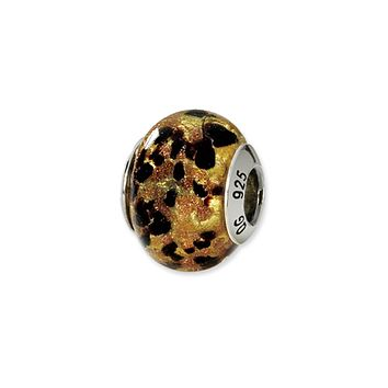 Sterling Silver, Yellow and Black Speckled Murano Glass Charm