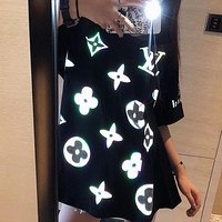 LV 2020 new laser reflective logo round neck half sleeve T-shirt