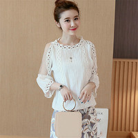 Female Fashion White Blouses O-neck Shirt Ladies Tops Half Sleeve Off Shoulder Hollow Out Blouse Women Plus Size 71700 GS