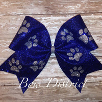 """3"""" Blue Glitter Cheer Bow with Silver Paw Prints"""