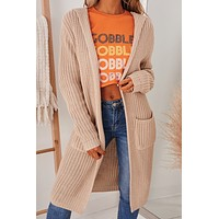 Save The Day Hooded Knit Cardigan (Taupe)