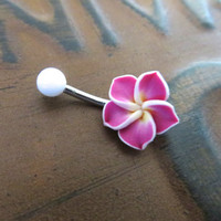 Hawaiian Flower Plumeria Belly Button Ring Hawaii Navel Stud Jewelry Bar Barbell Piercing Pink Tropical Hibiscus