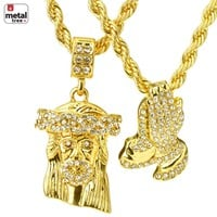 "Jewelry Kay style Iced Out Men's Jesus & Prayer Double Pendant 24"" & 30"" Rope Chain Necklace MCH01"